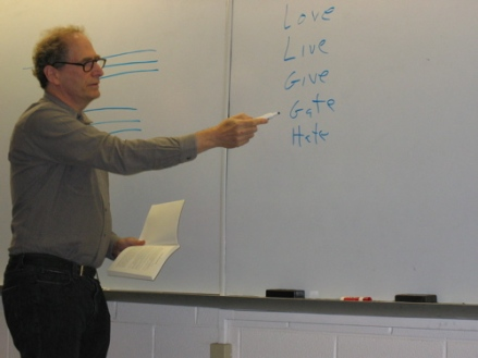 """Poet Bob Perelman points to a """"word ladder"""" in his poem """"Against Shock & Awe"""""""