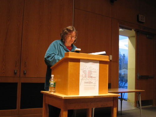 Tina Darragh reading her work in the UMaine New Writing Series.