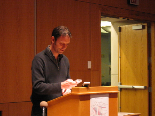 Poet Jonathan Skinner reading at UMaine in February 2007