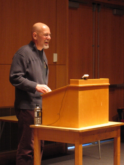 Steve Tomasula reading in the Soderberg Auditorium