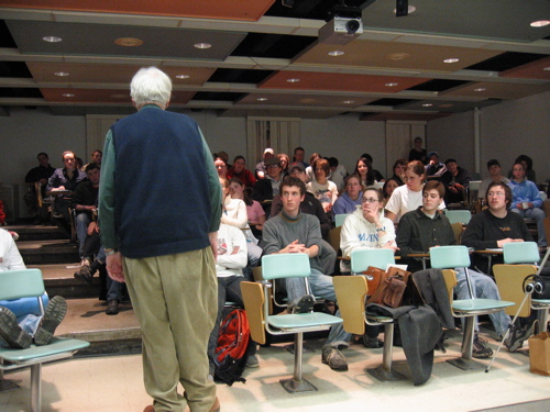 Robert Kelly fielding questions after his reading in the UMaine New Writing Series