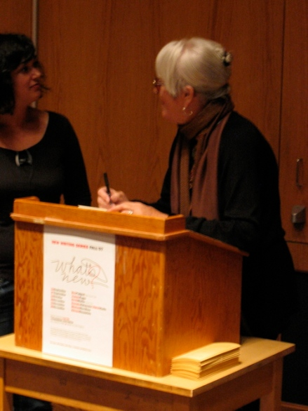 Joanne Kyger with student who won free copy of About Now