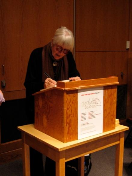Poet Joanne Kyger signing her newbook
