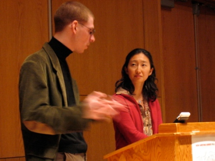 Aaron Kunin and Sawako Nakayasu entertain questions after their reading at UMaine