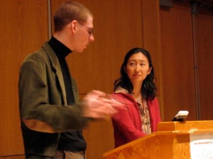 Aaron Kunin and Sawako Nakayasu entertain questions after their reading atUMaine