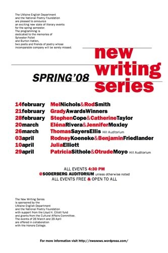 UMaine New Writing Series Poster for Spring 2008