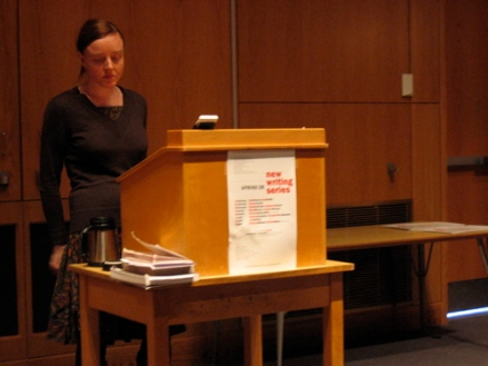 Julia Elliott entertains a question from the audience after her reading in the UMaine NWS in April 2008