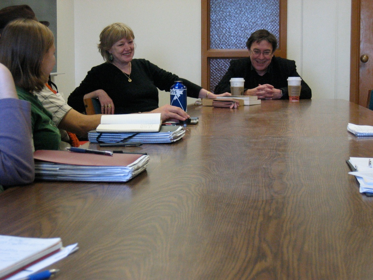 Monk and Halsey talk with student writers
